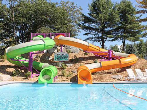 TWO WATERSLIDES into our heated pool
