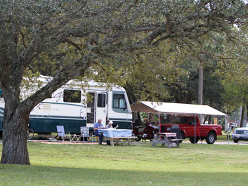 RV camping with a mix of sun and shade