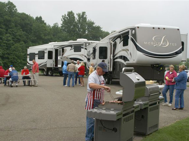 RV show cook-out enjoyed by owners and guests