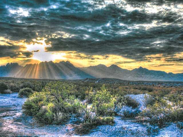 A beautiful desert sunset